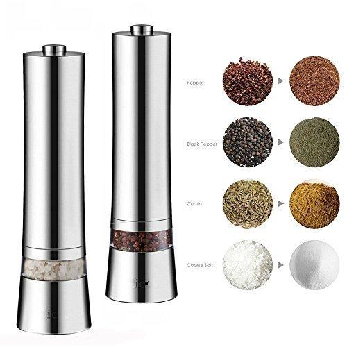 Salz und Pfeffermühle, Elektrische Pfeffermühle, Aicok Elektrische Gewürzmühle mit Einstellbarer Feinheit 2er Set, Silber