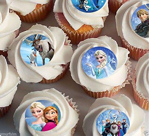 Elsa Anna oalf Essbares Reispapier Cupcake 3,8cm Bild FD (Disney Cake Topper)