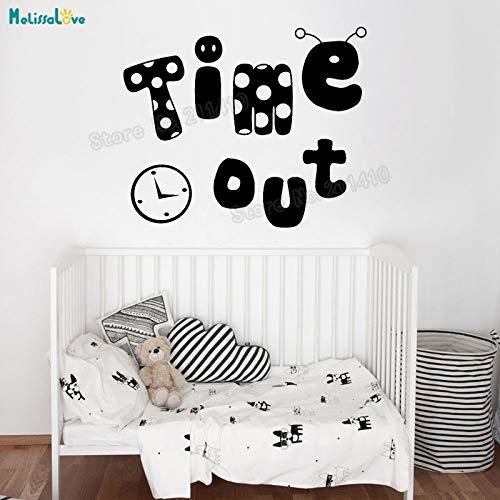 zhuziji Time Out Tanzen Uhr Wandaufkleber Abziehbilder Für Kinder Baby Room Removable Home Decoration Schöne Kinderzimmer Abziehbilder Einzigartige GIF weiß 102x84 cm