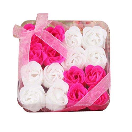 AMUSTER Badeseife Rosen Seife Handgefertigt Rose Blume Rosen-Duftseifen in Geschenkbox Weihnachten Geburtstags Valentinstag Geschenk Verschiedene Farben 3/6/9/16 Stücke (16 Stücke, Hot Pink)