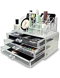 House of Quirk Acrylic Jewellery & Cosmetic Storage Display Boxes Double Layer Beauty Vanity Jewellery Clear Acrylic Stand and organizer