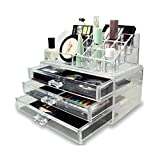 #9: House of Quirk Acrylic Jewellery & Cosmetic Storage Display Boxes Double Layer Beauty Vanity Jewellery Clear Acrylic Stand and organizer