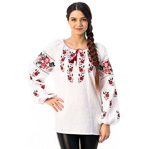 Arrow-wood&Roses Ukrainian Ethnic Embroidered Vyshyvanka Blouse for Women
