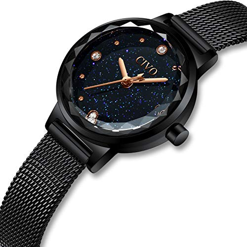650d0afeae6b CIVO Relojes para Mujer Reloj Damas de Malla Impermeable Silm Negro  Elegante Banda de Acero Inoxidable
