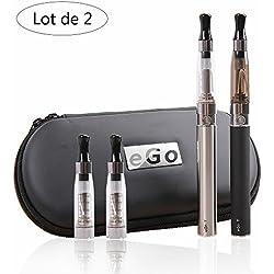 Cigarette électronique kit complet,Oummit e-Cigarette eGo-T Avec la Batterie 1100mAh Cigarette kit usb rechargeable Contient pas de nicotine ni de tabac.(Lot de 2) (eGo-T)