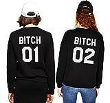JWBBU Sister Sweatshirt für Zwei Damen Beste Freunde Pullover Friends Hoodie BFF Partner Look Freundschaft Rundhals-Pulli Geschenk 2 stücke(Schwarz+Schwarz,bitch-01-M+02-S