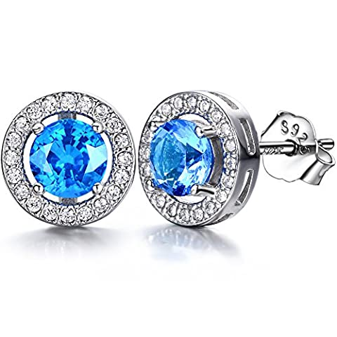 J.SHINE 925 Sterling Silver Stud Earrings for Women Men With Sapphire Blue 1A 6MM Cubic Zirconia