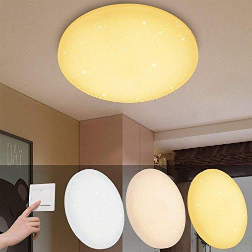 VINGO 16W LED Deckenbeleuchtung Rund Deckenlampe Starlight Effekt Schön  Wohnraum Wohnzimmer Farbwechsel Lampe