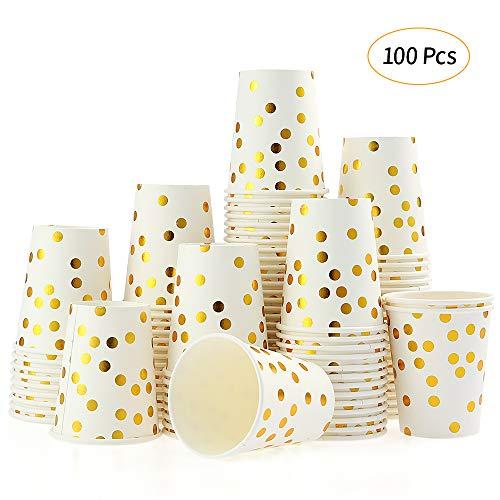 esonmus 100 Pappbecher Gold Dot 250ml Kaffeebecher to Go Trinkbecher Einweg Papierbecher Für Party Kaffee, Tee, Schokolade, Heißen Und Kalten Getränken (Becher)