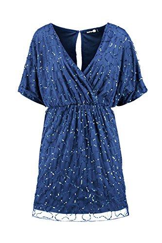 Marine Femmes Diana Boutique Sequin Wrap Dress Marine