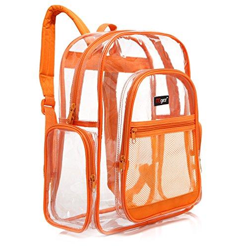 MGgear Mochila escolar transparente con borde naranja, bolsa de PVC transparente para libros