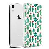 Eouine Coque iPhone XR, Etui en Silicone 3D Transparente avec Motif Peinture Design [Anti Choc] Housse de Protection Case Coque pour Téléphone Apple iPhone XR 2018-6,1 Pouces (Cactus)