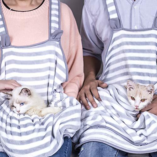 Outtybrave Antihaft-Kordelzug aus Coral-Fleece-Schürze mit Tasche für Haustiere, Katzen -