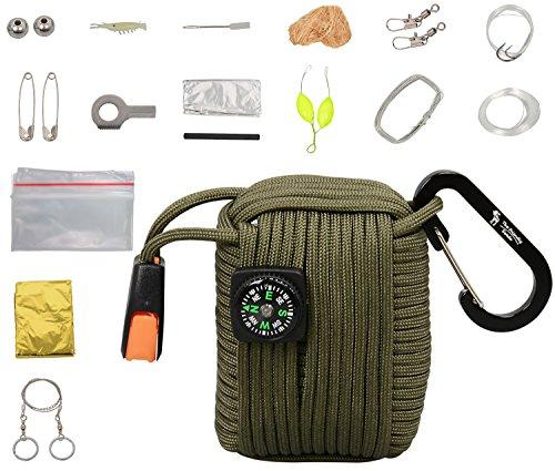 The Friendly Swede Survival-Pod - Survival-Kit inklusive Drahtsäge, Rettungsdecke und Paracord (Armee (Kinder Kit Armee)