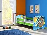 Clamaro 'Fantasia Grün' 140 x 70 Kinderbett Set inkl. Matratze und Lattenrost, mit verstellbarem Rausfallschutz und Kantenschutzleisten, Design: 21 Piraten