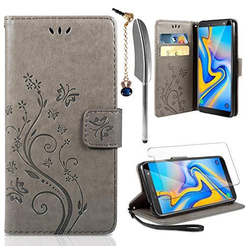 AROYI Lederhülle Samsung Galaxy A7 2018 Flip Hülle+ HD Schutzfolie, Galaxy A7 2018 Wallet Case Schmetterling Blumen Handyhülle PU Leder Tasche Case Kartensteckplätzen Schutzhülle für Samsung A7 2018