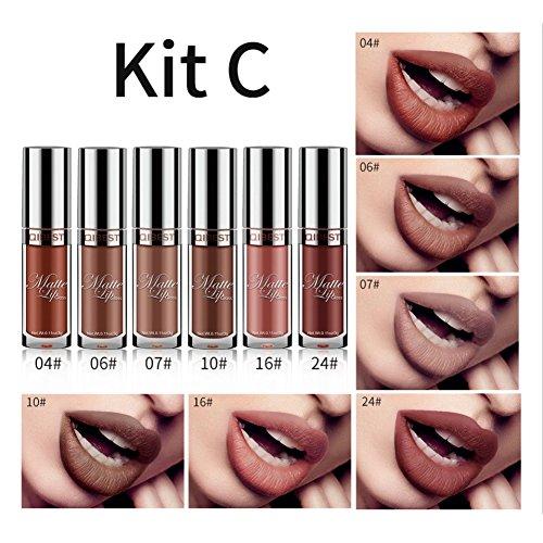 Rouge à lèvres liquide, Shouhengda matte rouge à lèvres Set 6 couleurs imperméable à l'eau Sexy Pigmented Lipgloss maquillage cosmétiques A03