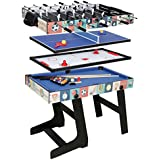 HLC-Table Multi Jeux 4 en 1 Pliante-Billard/Babyfoot/Hockey/Tennis de Table-121.5*61*81.3cm