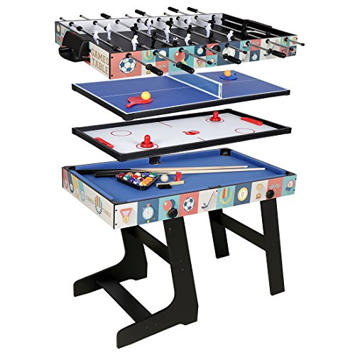 HLC-Table Multi Jeux 4 en 1 Pliante-Billard/Babyfoot/Hockey/Tennis de Table-121.5*61*81.3cm