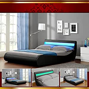 venedig led luxus 140x200 schwarz polsterbett doppelbett bettgestell bettrahmen mit lattrost. Black Bedroom Furniture Sets. Home Design Ideas