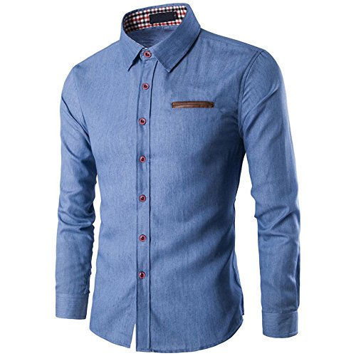 Herren Hemd T-shirt,Dasongff Mode Herrenhemd Tasche Zauber Baumwolle Langarm-Shirt Jeanshemd Business Slim Fit Shirt Freizeithemd Langarmhemd Denim Hemden Tops (L, Blau)