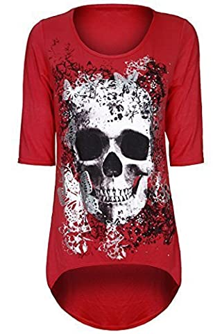 Womens Ladies Skull Butterfly Print Dip Dipped Hem High Low Tunic Top Plus Size
