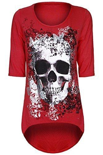 Damen Schädel Schmetterling Aufdruck Dip Asymmetrischer Saum Hoch Niedrig Tunika Top T-shirt Übergröße Rot