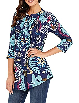 JackenLOVE Verano Mujer Tops con Botón Irregular Longitud Media Plisada Camisetas Remata Blusa Top T Shirt Sudaderas...
