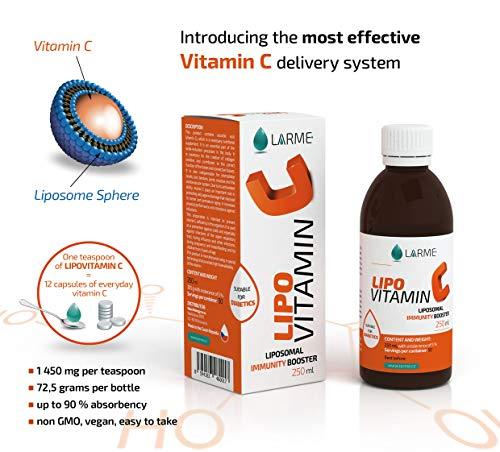 LIPOVITAMIN C® LIPOSOMAL VITAMIN C HOCHDOSIERT-1450mg pro Portion! Liposomales Vitamin C Flüssig mit Bioflavonoide und Vitamin E. Magenfreundlich, Stark und Maximal Bioverfügbar (C Vitamin Bioflavonoide)