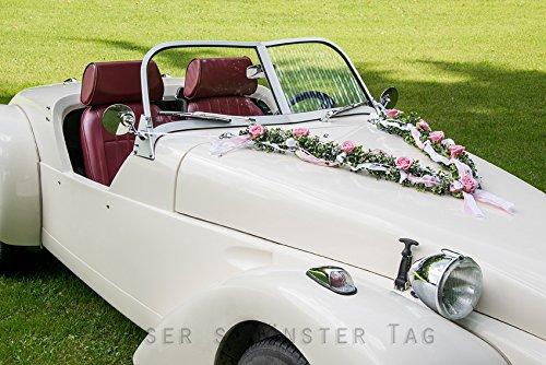 Autoschmuck Autogesteck Hochzeit Brautauto Autogirlande rosa weiß AU0004