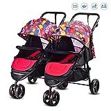 Nwlzx Geschwisterwagen/Zwillings - Kinderwagen, Multifunktionales,Schnell Faltbar, Leicht, Folding,Nebeneinander, ab Geburt Nutzbar,für Babys und KleinkinderG