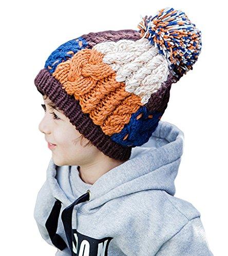 Smile YKK Bonnet Tricot Chapeau de Chaud en Hiver Pour Enfant Unisexe Café