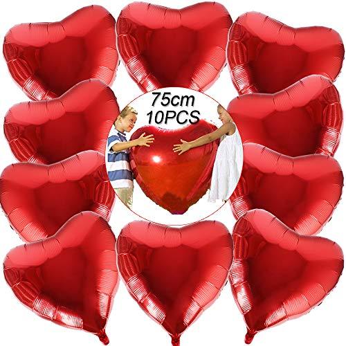 BUONDAC 10 STK 30 Zoll Rot Herzballons Hochzeit Valentinstag Verlobung Geburtstag Ballons Herz Folienballon Helium Folienluftballons Luftballons Herzform Heliumballons Herzluftballons