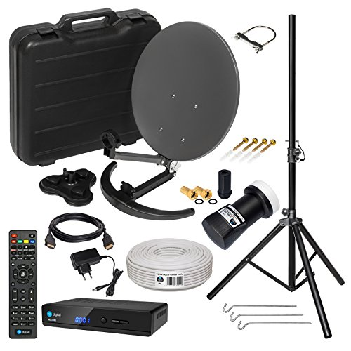 HD Camping Sat Anlage im Koffer ➕ Stativ von HB-DIGITAL: 📡 Mini Sat Schüssel 40cm Anthrazit ➕ Stativ ➕ UHD Single LNB 0,1 dB ➕ Hochwertiger mini Sat-Receiver ➕ 10m SAT-Kabel inkl. F-Stecker 💢 4K UHD Full HD 1080p fähig 💢