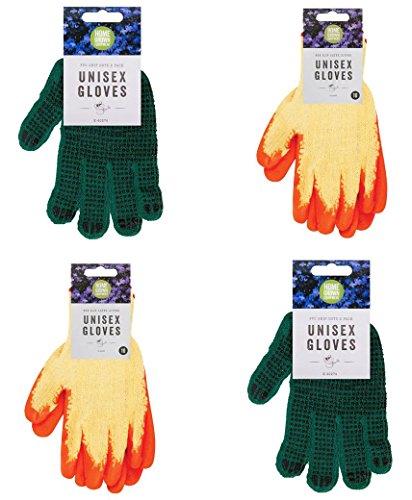 Beaucoup Shop Unisexe Gants de jardinage avec des points de PVC Bundle avec revêtement en latex Gants de jardinage Red bleu