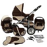 Chilly Kids Matrix Lancer Kinderwagen Komplettset (Autositz, Regenschutz, Moskitonetz, Schwenkräder) 05 Schoko & Creme
