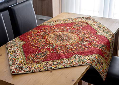 LPUK Mantel Afshari Collection Series1 Rojo 100 cm × 100 cm Aprox Cuadrado Tela Mantel clásico Vintage patrón