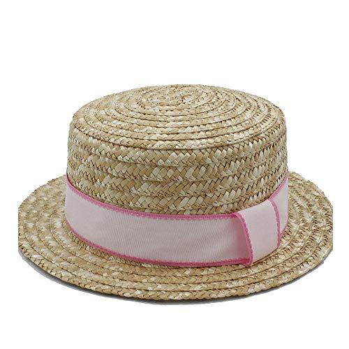 Zubehör Frauen Top Weiche Sonnenhut Bast Hut Sommer Sailor Beach Hut Lässig Weibliche Panama Hut Mit Sonnenhut Flacher Sommer Hut (Farbe: Hellrosa, Größe: 56-58 cm) (Weiblich Sailor Kostüme)