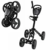 Caddymatic Golf Quad 4-Wheel Folding Golf Pull/Push Trolley Black