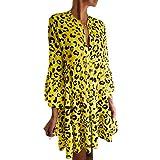 AZZRA Mode Frauen V-Ausschnitt Dreiviertel Flare Ärmel Leopardenmuster drapiert Minikleid Damen ärmelloses beiläufiges Strandkleid Kleid ausgestelltes trägerkleid Neckholder