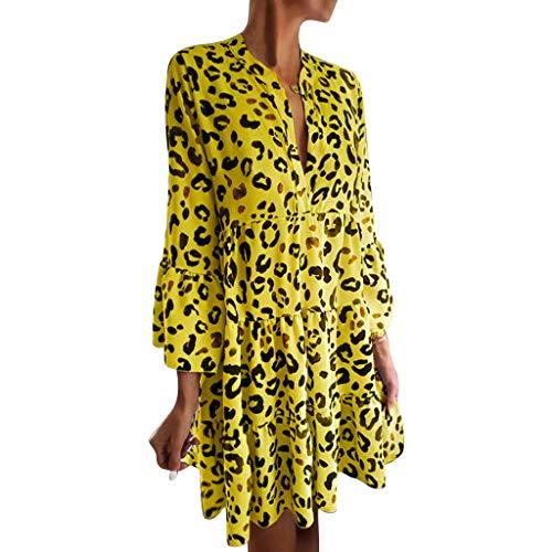 AZZRA Mode Frauen V-Ausschnitt Dreiviertel Flare Ärmel Leopardenmuster drapiert Minikleid Damen ärmelloses beiläufiges Strandkleid Kleid ausgestelltes trägerkleid Neckholder -