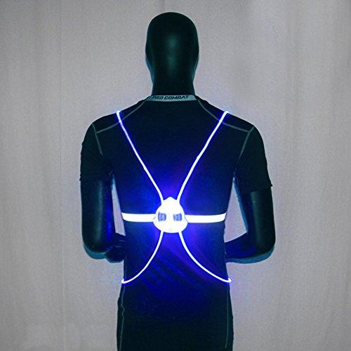 SDYDAY Reflektierende Weste für Nacht, Laufen und Radfahren, Blinkende Weste, mit LED-TPU-Lichtleitung, Fasersport, Sicherheitsweste für Hohe Sichtbarkeit, blau