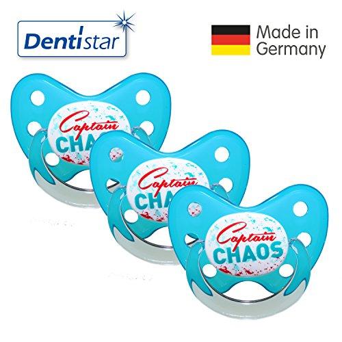 Dentistar® Schnuller 3er Set- Nuckel Silikon in Größe 3, ab 14 Monate - zahnfreundlich & kiefergerecht - Beruhigungssauger für Babys - Türkis Captain Chaos