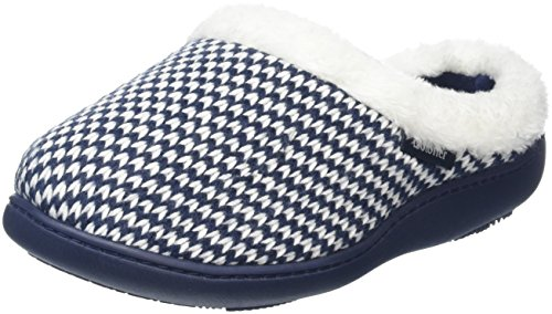 isotoner-women-knitted-swept-fur-cuff-open-back-slippers-blue-navy-5-uk-38-eu