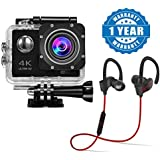 Drumstone 4K WIFI Ultra HD Waterproof 170 Degree Angle 2.0-inch LCD 100ft Underwater action camera with QC-10 Bluetooth 4.1 Stereo Headset for Smartphones