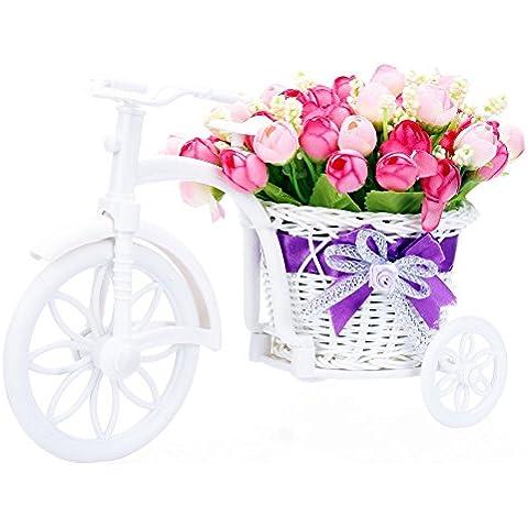 Joymod @-Set Rose Artificiali in Vaso di Fiori in Rattan, Decorazione a Forma di Matrimonio, Regalo di Compleanno