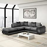 Jumbo Cord Fabric Corner Sofa Group Settee Couch Left & Right Hand Side, Free Footstool, Grey/Black