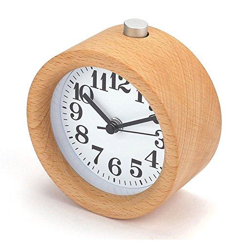 Juanya clásica Silencioso pequeño madera despertador noche mesa de Mute Snooze Reloj despertador con luz nocturna