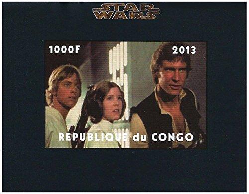 Star Wars Sammelmarken - Han Solo, Prinzessin Leia und Luke Skywalker nicht perforierte Blech Superb Zustand und frisch - 2013 / Kongo / 1000F (Perforierte Bleche)