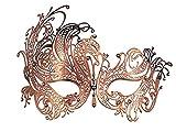 Máscara Veneciana de metal de fiesta con brillantes , metal, oro rosa, Medium